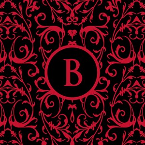 MONOGRAM Black & Red Damask Pattern