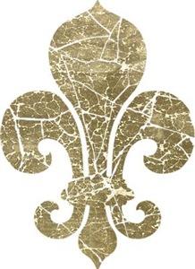 Vintage Worn Fleur De Lis