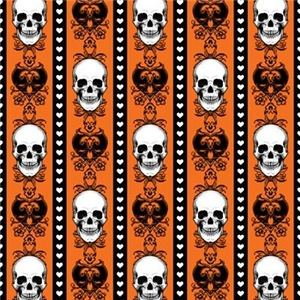 Baroque Skull Stripe Pattern Orange
