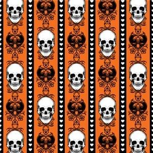 Baroque Skull Stripe Pattern Orange
