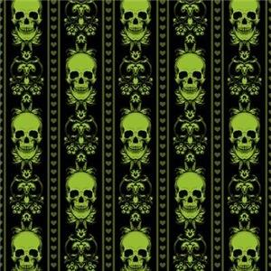 Baroque Skull Stripe Pattern Green