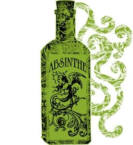 Absinthe Bottle With Swirls
