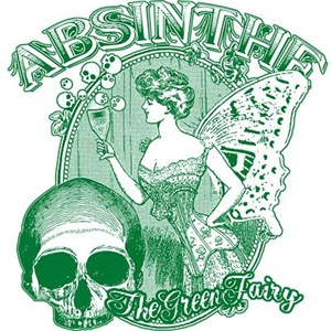 Absinthe Collage Lady With Skull