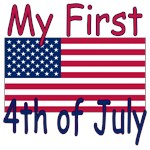 Baby First 4th of July flag t-shirt, infant onesie