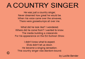 ENTERTAINMENT/POP CULTURE/A COUNTRY SINGER