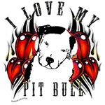 hearts of fire I love my pit bull design