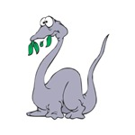 Goofy Dino Eating Leaves