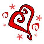 Swirly Red Heart Design