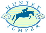 hunter jumper floral logo, blue & yellow
