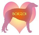 Borzoi Pink Heart