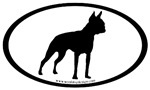 Boston Terrier Dogs Oval Stickers
