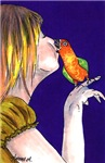 A Girl and her Parrot
