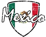 Mexican soccer distressed shield design