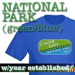 National Park T-Shirts: Green/Blue Logo