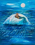 Mermaid floating under a fullmoon