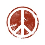 Red Distressed Look Peace Symbol