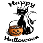 Halloween Black Cat & Pumpkin T-Shirts and Gifts!