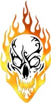 Halloween Skull In Flames Apparel and Gifts