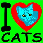 I Love Cats Lime