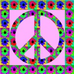 Peace Symbol Blackeyed Susans in Pink