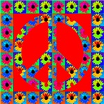 Peace Symbol Blackeyes Susans on Ruby Red