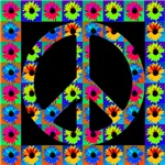 Peace Symbol Blackeyed Susans on Midnight Black