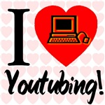 I Love YouTubing Glowing PC Heart (Front & Back)