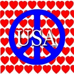 Patriotic RWB USA Peace & Love Symbol 2008 Edition