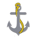 Gray anchor with rope