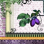 Vintage Plum Fruit Collage