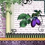 Vintage Plum Fruit Collage