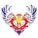 Greyhound Rainbow Winged Heart