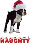 Christmas Naughty Boston Terrier T-Shirts