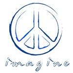 Imagine - Peace Symbol - Blue