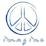 Imagine - Peace Symbol - Blue