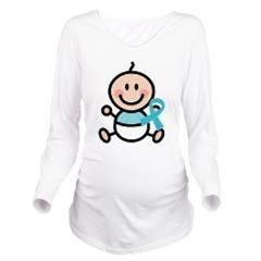 Turquoise Awareness Ribbon Maternity Tshirts