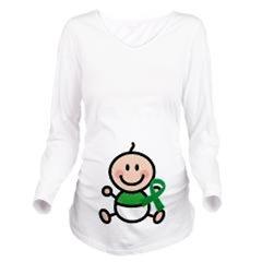Green Awareness Ribbon Maternity Tshirts