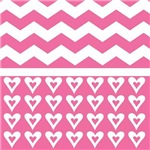 Chevron Hearts Pink Gifts