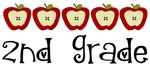 Apple 2nd Grade Gifts and Teacher T-shirts