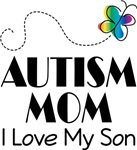 Autism Mom I Love My Son Butterfly T-shirt