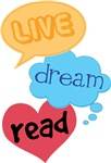 Live Dream Read Book T-shirts
