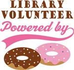 Library Volunteer Powered By Donuts Gift T-shirts