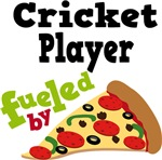 CRICKET  PLAYER Funny Fueled By Pizza Tshirts