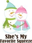 Favorite Squeeze Mens Snowman Couple Tees