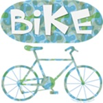Patterned Bicycle Text Oval