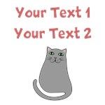 Personalized Text Cute Grey Cat