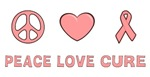 Breast Cancer Peace Love Cure T-shirts