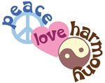 Peace Love Harmony Shirts ~ Peace love and harmony shirts and accessories. Design made of a peace sign, heart and yin and yang sign.