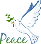 Peace Shirts ~ Peace shirts and peace merchandise decorated with a white dove - the symbol of peace.