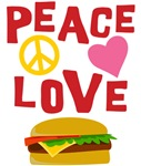 Peace Love Cheeseburger T Shirts